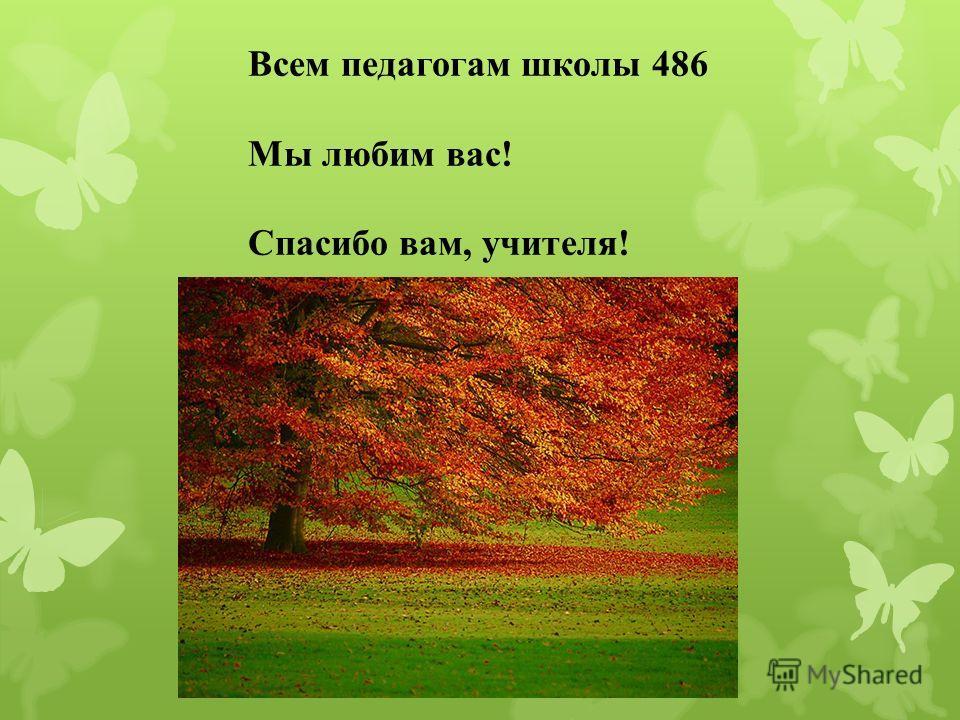 Всем педагогам школы 486 Мы любим вас! Спасибо вам, учителя!
