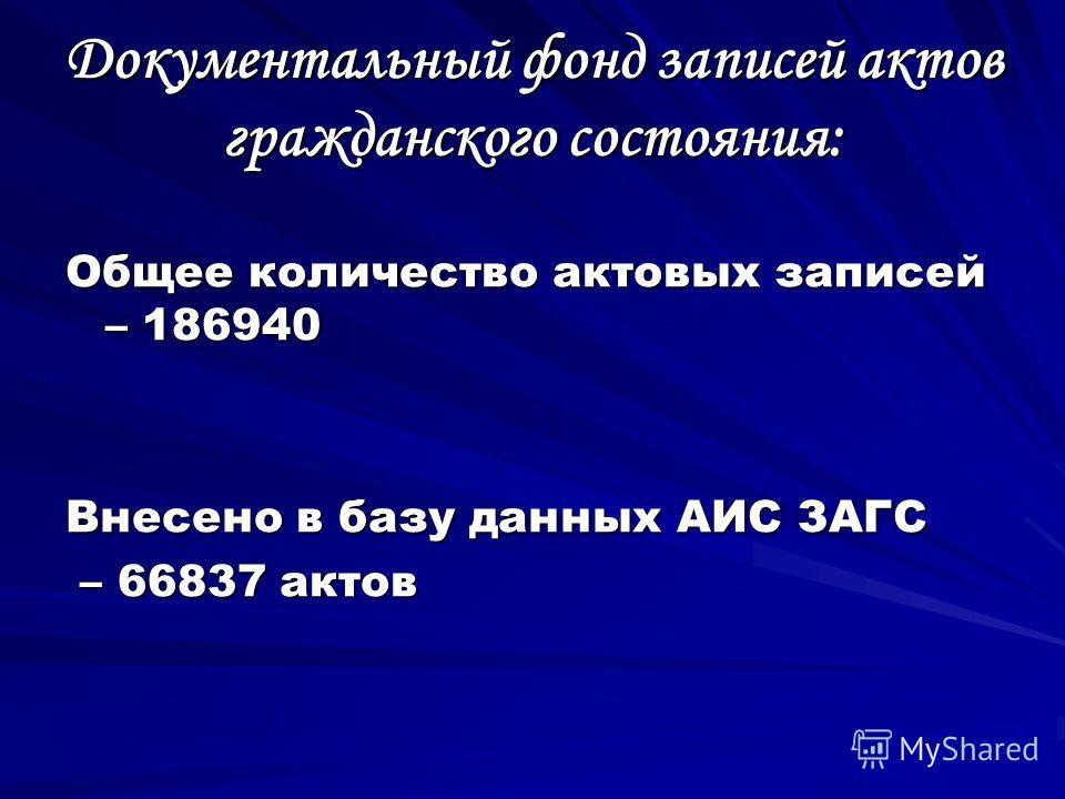 Документальный фонд записей актов гражданского состояния: Общее количество актовых записей – 186940 Внесено в базу данных АИС ЗАГС – 66837 актов – 66837 актов