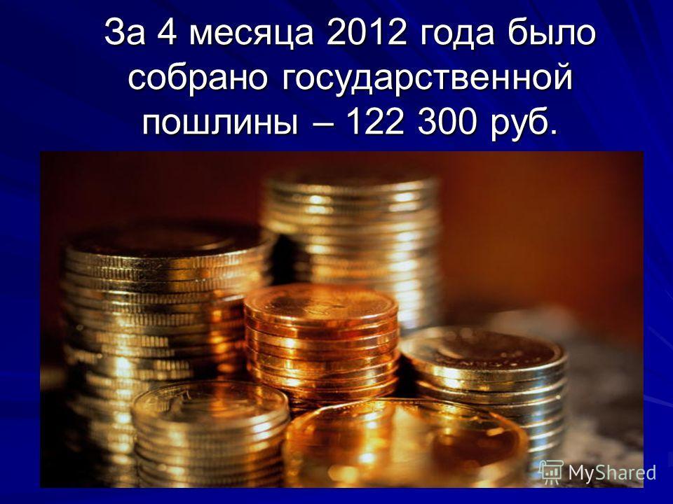 За 4 месяца 2012 года было собрано государственной пошлины – 122 300 руб.
