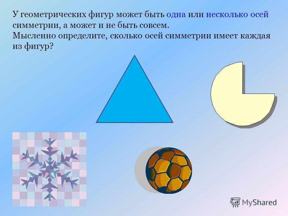 У геометрических фигур может быть одна или несколько осей симметрии, а может и не быть совсем. Мысленно определите, сколько осей симметрии имеет каждая из фигур?