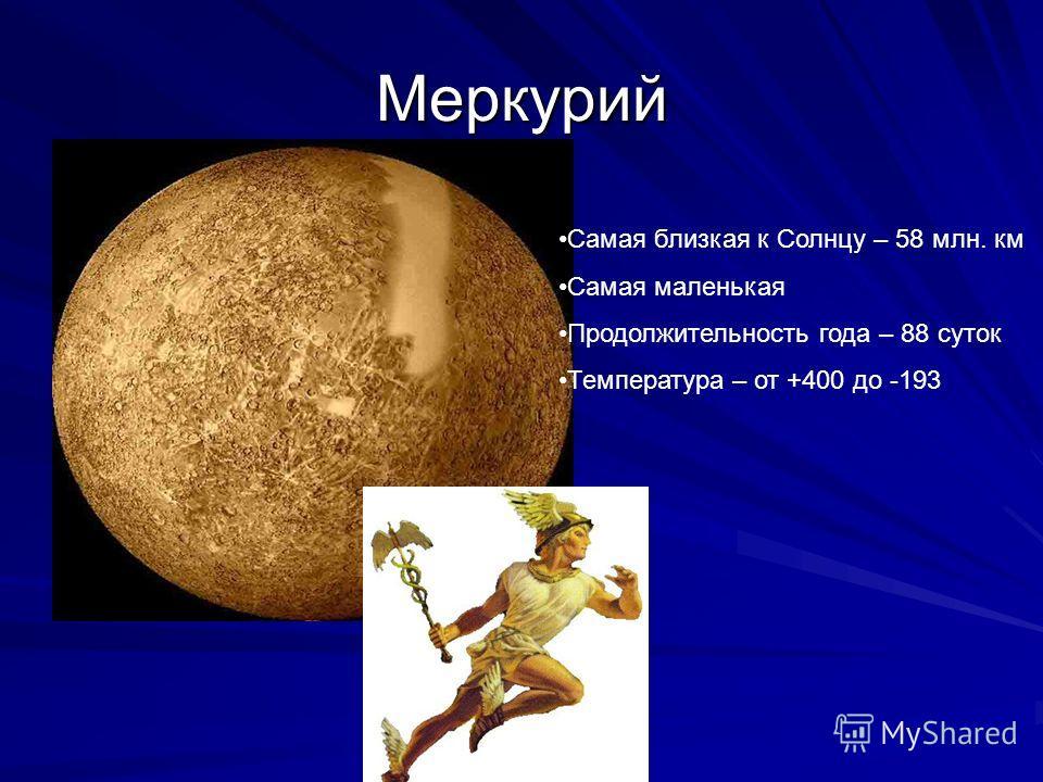 Меркурий Самая близкая к Солнцу – 58 млн. км Самая маленькая Продолжительность года – 88 суток Температура – от +400 до -193