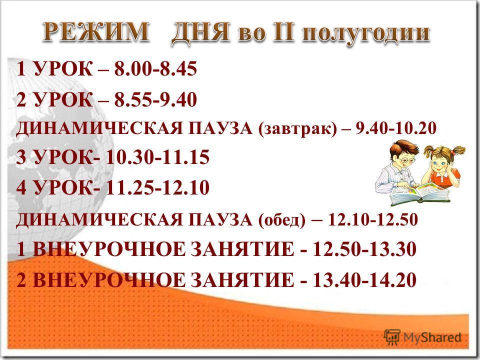 1 УРОК – 8.00-8.45 2 УРОК – 8.55-9.40 ДИНАМИЧЕСКАЯ ПАУЗА (завтрак) – 9.40-10.20 3 УРОК- 10.30-11.15 4 УРОК- 11.25-12.10 ДИНАМИЧЕСКАЯ ПАУЗА (обед) – 12.10-12.50 1 ВНЕУРОЧНОЕ ЗАНЯТИЕ - 12.50-13.30 2 ВНЕУРОЧНОЕ ЗАНЯТИЕ - 13.40-14.20
