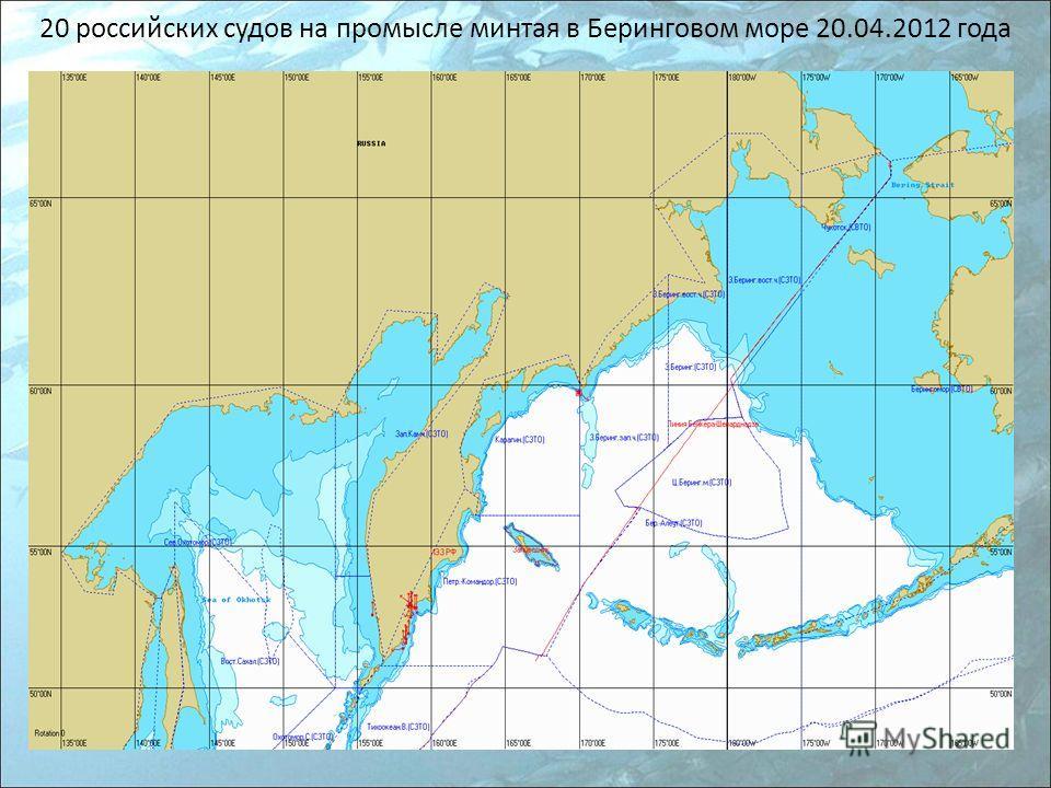 20 российских судов на промысле минтая в Беринговом море 20.04.2012 года