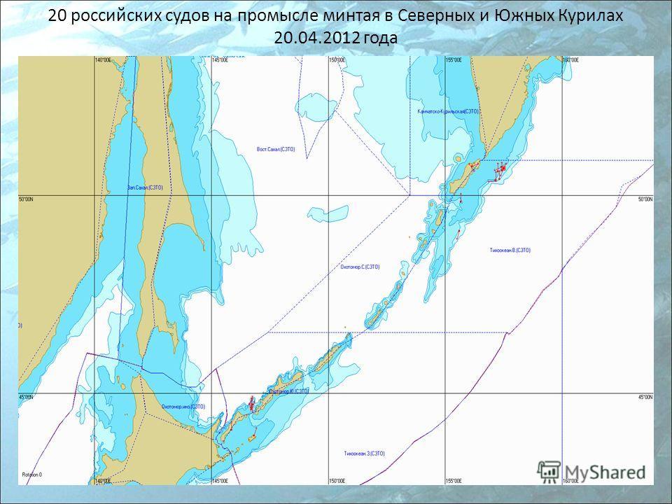 20 российских судов на промысле минтая в Северных и Южных Курилах 20.04.2012 года