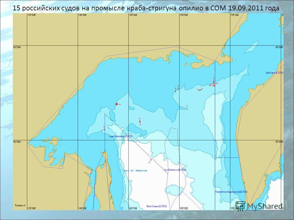 15 российских судов на промысле краба-стригуна опилио в СОМ 19.09.2011 года