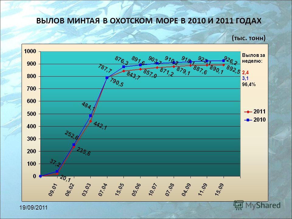 ВЫЛОВ МИНТАЯ В ОХОТСКОМ МОРЕ В 2010 И 2011 ГОДАХ (тыс. тонн) Вылов за неделю: 2,4 3,1 96,4% 19/09/2011