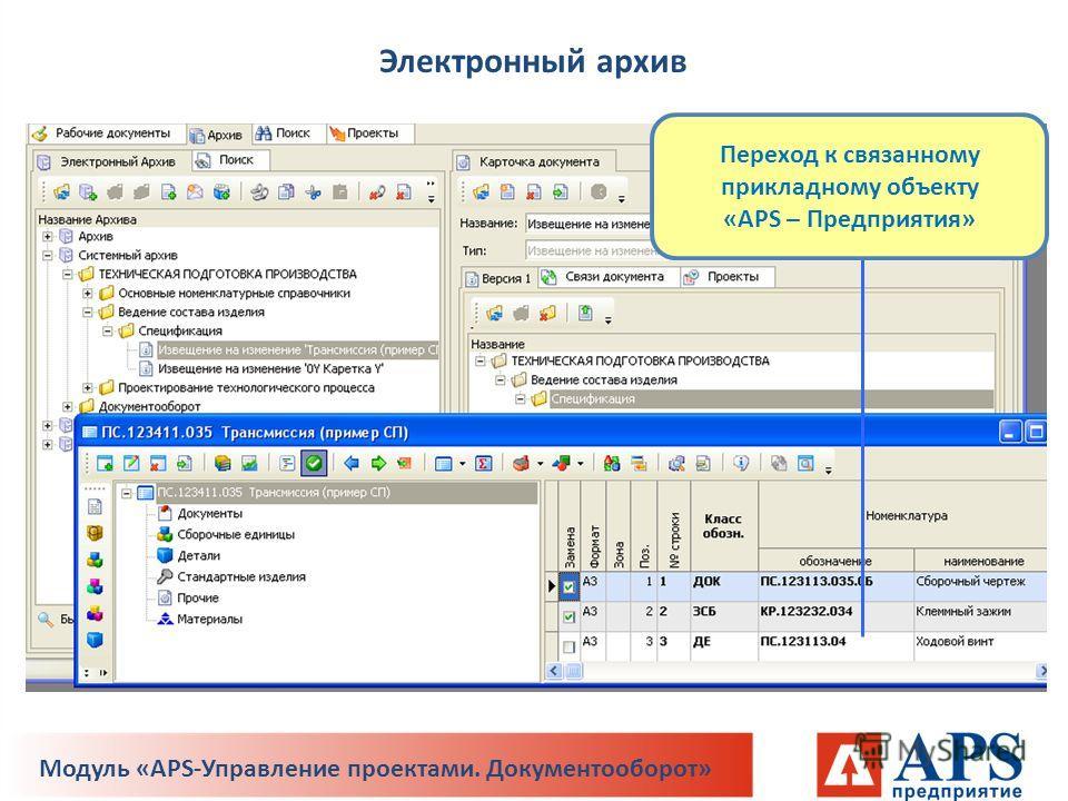 Переход к связанному прикладному объекту «APS – Предприятия» Электронный архив Модуль «APS-Управление проектами. Документооборот»