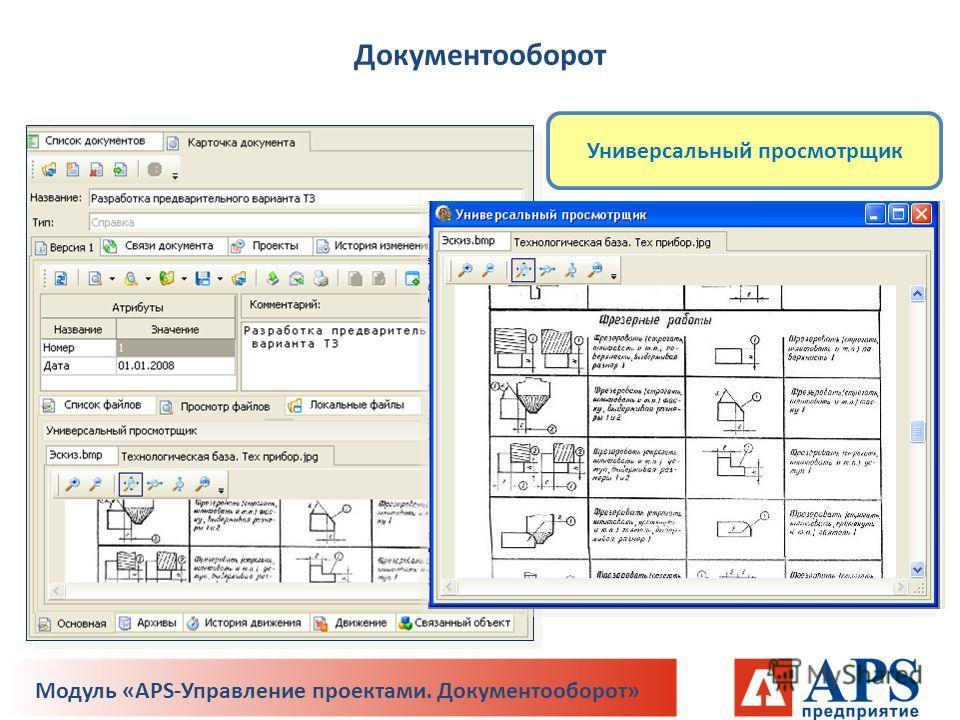 Универсальный просмотрщик Документооборот Модуль «APS-Управление проектами. Документооборот»