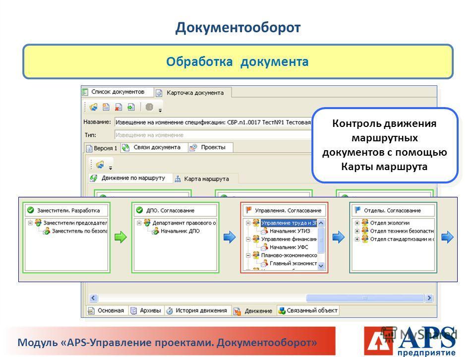 Обработка документа Контроль движения маршрутных документов с помощью Карты маршрута Документооборот Модуль «APS-Управление проектами. Документооборот»