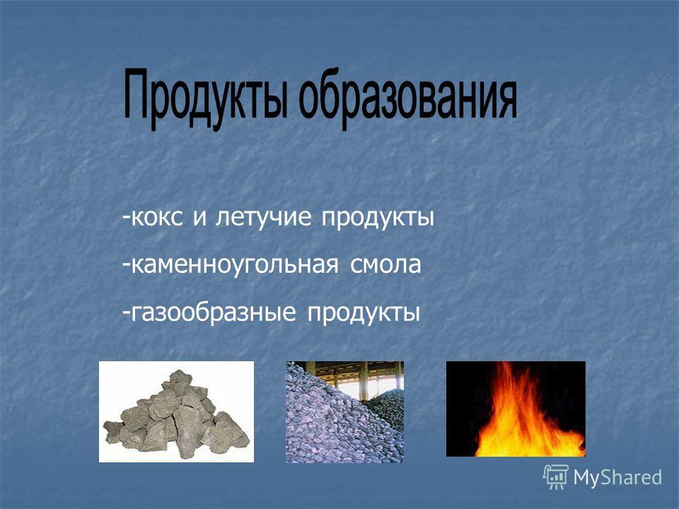 -кокс и летучие продукты -каменноугольная смола -газообразные продукты