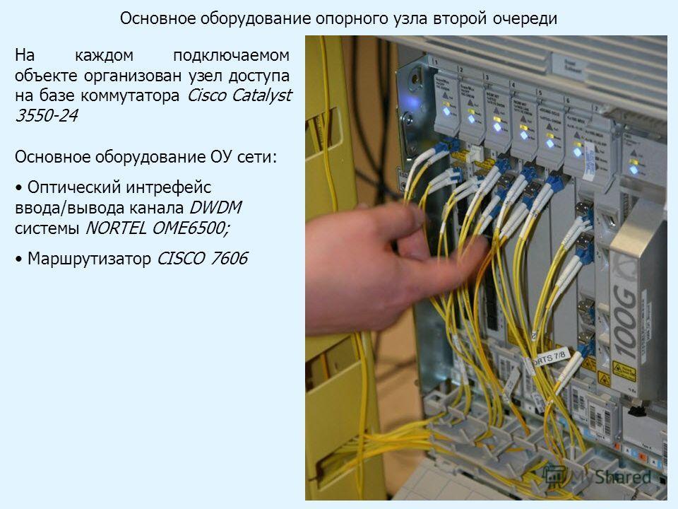 На каждом подключаемом объекте организован узел доступа на базе коммутатора Cisco Catalyst 3550-24 Основное оборудование ОУ сети: Оптический интрефейс ввода/вывода канала DWDM системы NORTEL OME6500; Маршрутизатор CISCO 7606 Основное оборудование опо