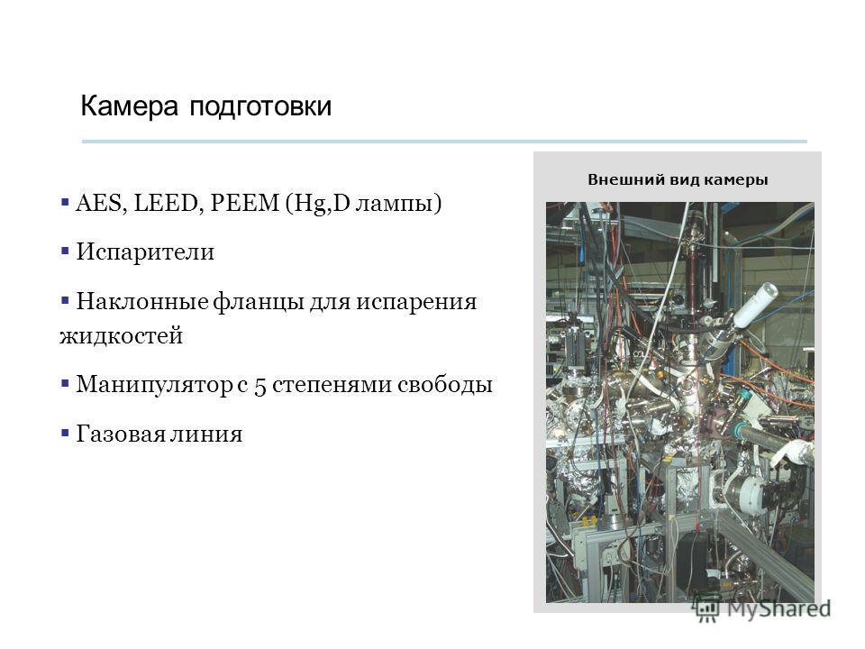 Камера подготовки AES, LEED, PEEM (Hg,D лампы) Испарители Наклонные фланцы для испарения жидкостей Манипулятор с 5 степенями свободы Газовая линия Внешний вид камеры
