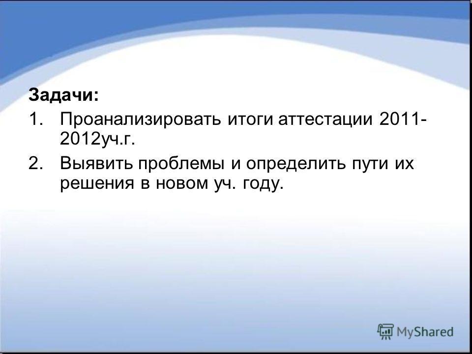 Задачи: 1.Проанализировать итоги аттестации 2011- 2012уч.г. 2.Выявить проблемы и определить пути их решения в новом уч. году.
