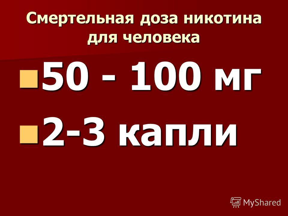 Смертельная доза никотина для человека 50 - 100 мг 50 - 100 мг 2-3 капли 2-3 капли