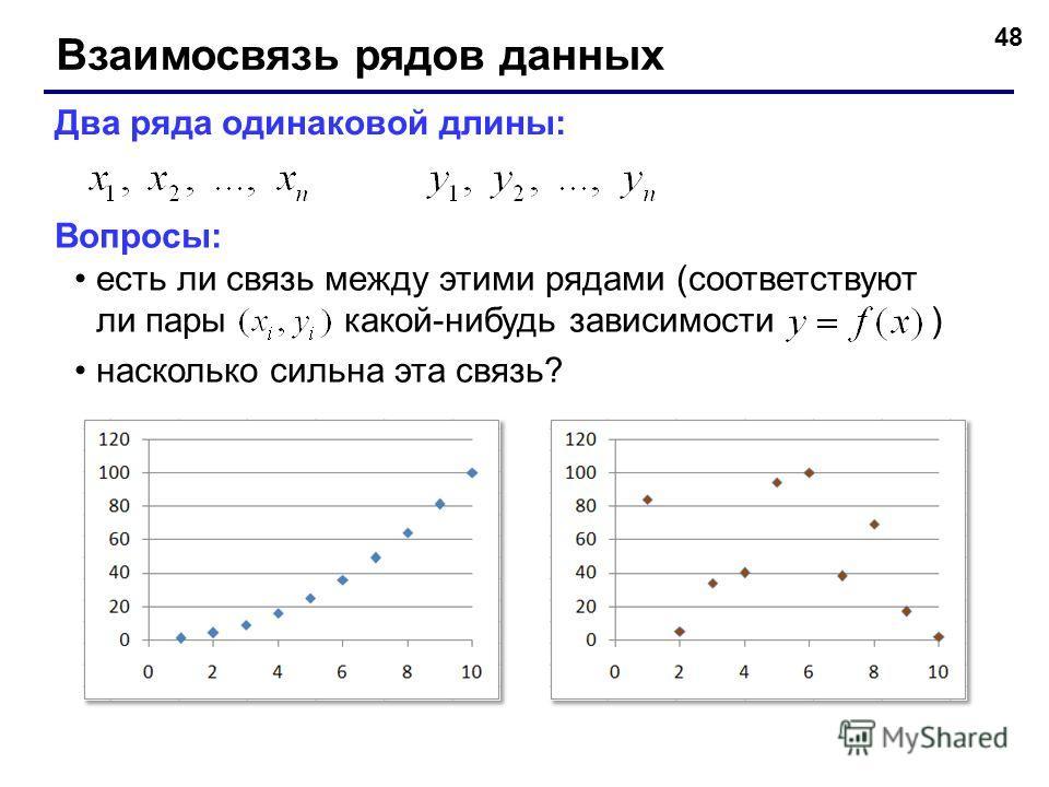 48 Взаимосвязь рядов данных Два ряда одинаковой длины: Вопросы: есть ли связь между этими рядами (соответствуют ли пары какой-нибудь зависимости ) насколько сильна эта связь?