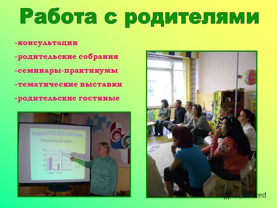 -консультации -родительские собрания -семинары-практикумы -тематические выставки -родительские гостиные