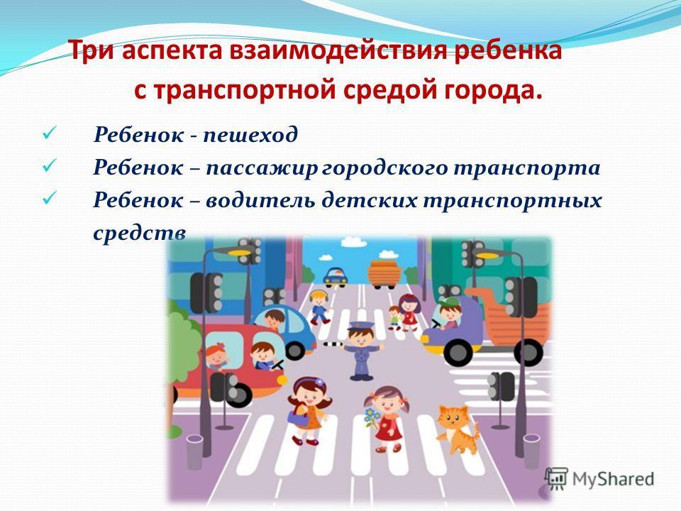 Три аспекта взаимодействия ребенка с транспортной средой города. Ребенок - пешеход Ребенок – пассажир городского транспорта Ребенок – водитель детских транспортных средств