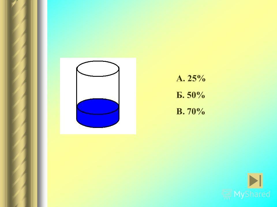 А. 25% Б. 50% В. 70%
