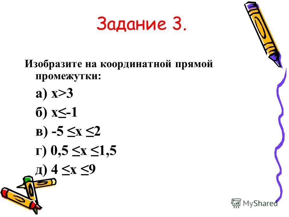 Задание 3. Изобразите на координатной прямой промежутки: а) х>3 б) х-1 в) -5 х 2 г) 0,5 х 1,5 д) 4 х 9
