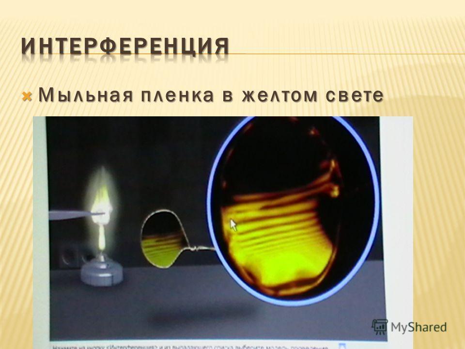 Мыльная пленка в желтом свете Мыльная пленка в желтом свете