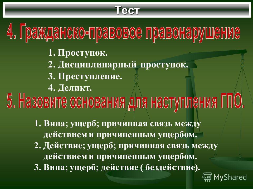 Тест 1.Проступок. 2. Дисциплинарный проступок. 3. Преступление. 4. Деликт. 1.Вина; ущерб; причинная связь между действием и причиненным ущербом. 2. Действие; ущерб; причинная связь между действием и причиненным ущербом. 3. Вина; ущерб; действие ( без