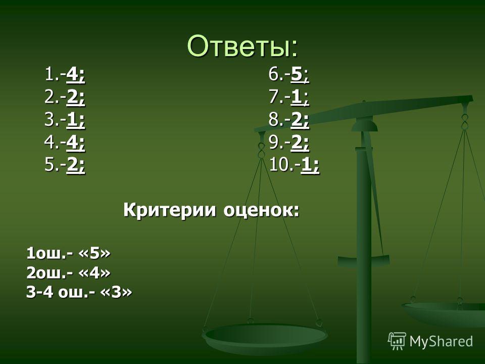 Ответы: 1.-4;6.-5; 2.-2;7.-1; 3.-1;8.-2; 4.-4;9.-2; 5.-2;10.-1; Критерии оценок: 1ош.- «5» 2ош.- «4» 3-4 ош.- «3»