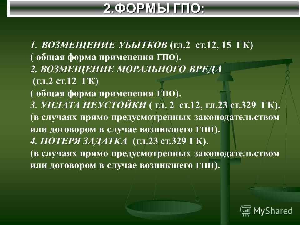 2.ФОРМЫ ГПО: 1.ВОЗМЕЩЕНИЕ УБЫТКОВ (гл.2 ст.12, 15 ГК) ( общая форма применения ГПО ). 2. ВОЗМЕЩЕНИЕ МОРАЛЬНОГО ВРЕДА (гл.2 ст.12 ГК) ( общая форма применения ГПО ). 3. УПЛАТА НЕУСТОЙКИ ( гл. 2 ст.12, гл.23 ст.329 ГК). (в случаях прямо предусмотренных