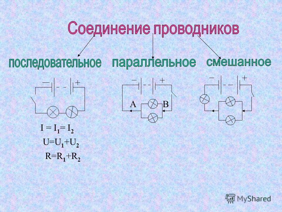 ВА I = I 1 = I 2 U=U 1 +U 2 R=R 1 +R 2