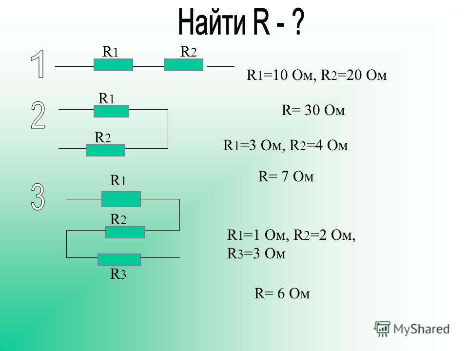 R 1 =10 Oм, R 2 =20 Oм R 1 =3 Oм, R 2 =4 Oм R 1 =1 Oм, R 2 =2 Oм, R 3 =3 Oм R1R1 R1R1 R1R1 R2R2 R2R2 R2R2 R3R3 R= 30 Ом R= 7 Ом R= 6 Ом