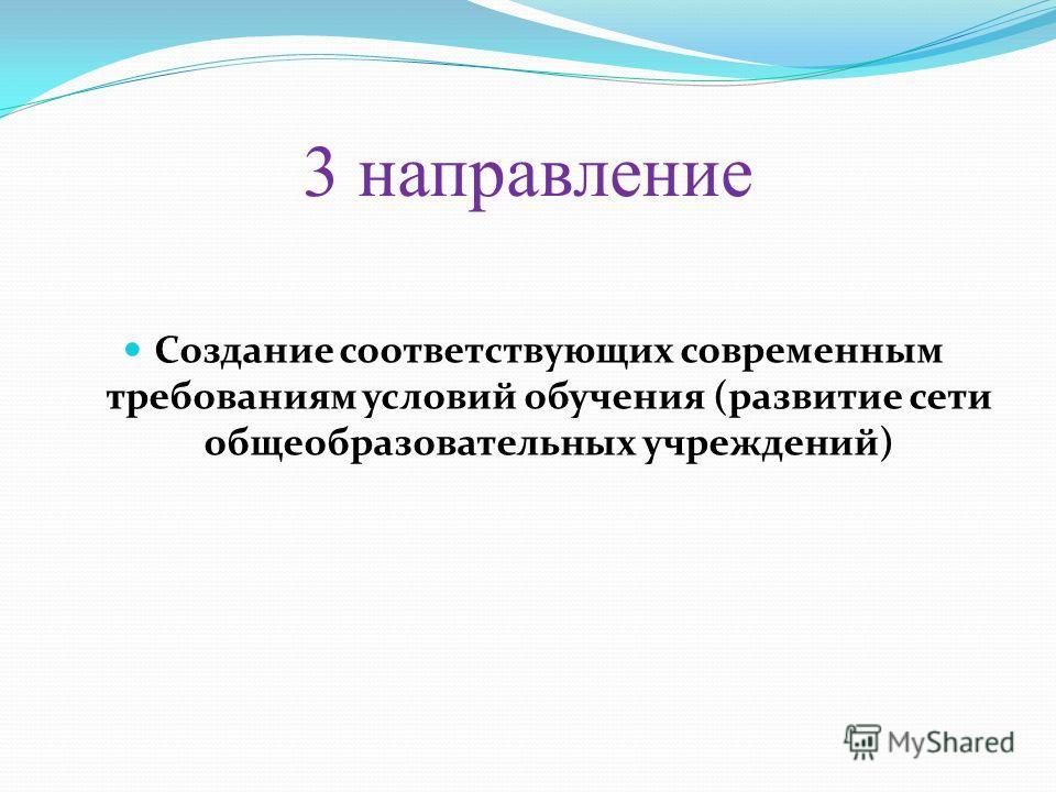 3 направление Создание соответствующих современным требованиям условий обучения (развитие сети общеобразовательных учреждений)