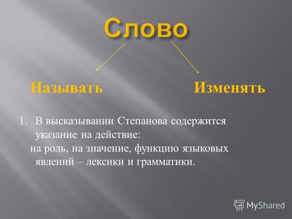 НазыватьИзменять 1.В высказывании Степанова содержится указание на действие : на роль, на значение, функцию языковых явлений – лексики и грамматики.
