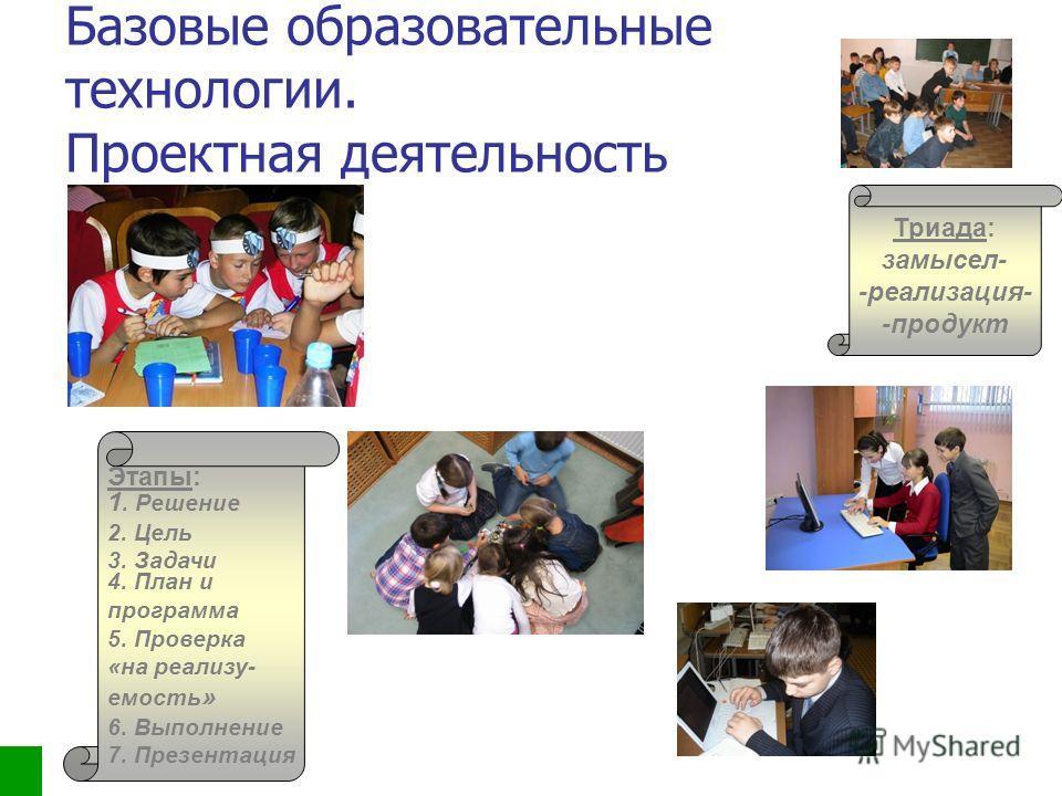 ПРОЕКТНАЯ ДЕЯТЕЛЬНОСТЬ Триада: замысел- -реализация- -продукт Этапы: 1. Решение 2. Цель 3. Задачи 4. План и программа 5. Проверка «на реализу- емость » 6. Выполнение 7. Презентация Базовые образовательные технологии. Проектная деятельность