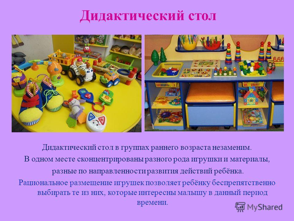 Дидактический стол Дидактический стол в группах раннего возраста незаменим. В одном месте сконцентрированы разного рода игрушки и материалы, разные по направленности развития действий ребёнка. Рациональное размещение игрушек позволяет ребёнку беспреп