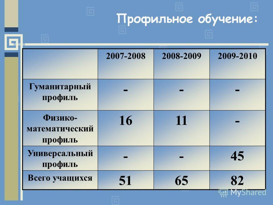 Профильное обучение: 2007-20082008-20092009-2010 Гуманитарный профиль --- Физико- математический профиль 1611- Универсальный профиль --45 Всего учащихся 516582
