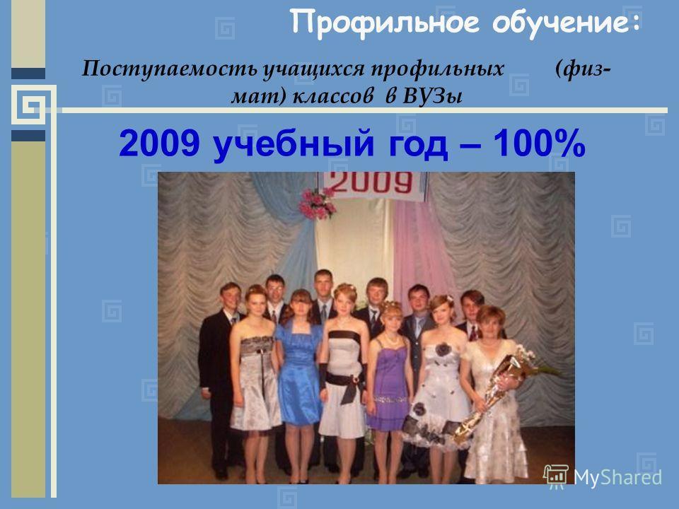 Профильное обучение: Поступаемость учащихся профильных (физ- мат) классов в ВУЗы 2009 учебный год – 100%