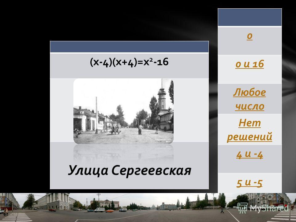 (х-4)(х+4)=х 2 -16 Улица Сергеевская 0 0 и 16 Любое число Нет решений 4 и -4 5 и -5