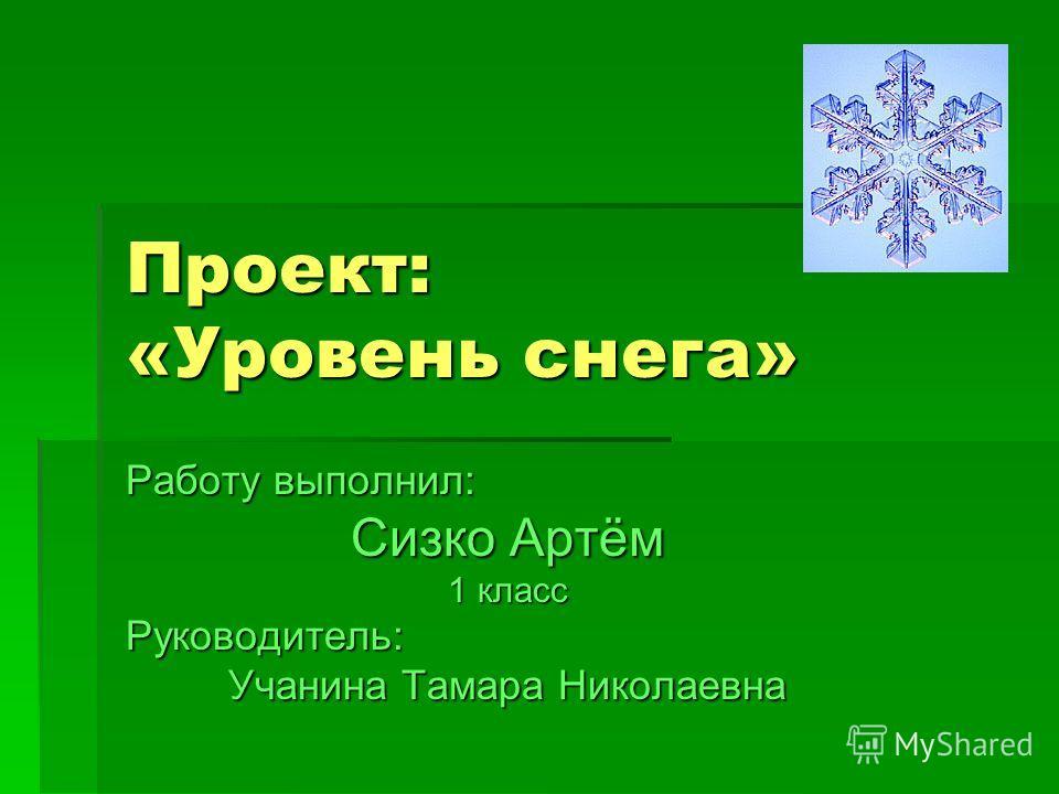 Проект: «Уровень снега» Работу выполнил: Сизко Артём 1 класс Руководитель: Учанина Тамара Николаевна