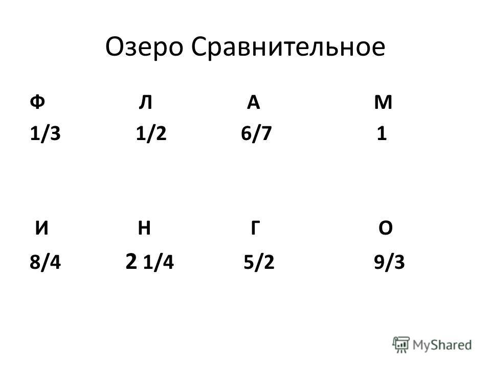 Озеро Сравнительное Ф Л А М 1/3 1/2 6/7 1 И Н Г О 8/4 2 1/4 5/2 9/3
