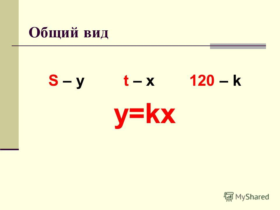 Общий вид S – y t – x 120 – k y=kx