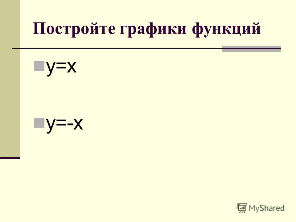 Постройте графики функций y=x y=-x
