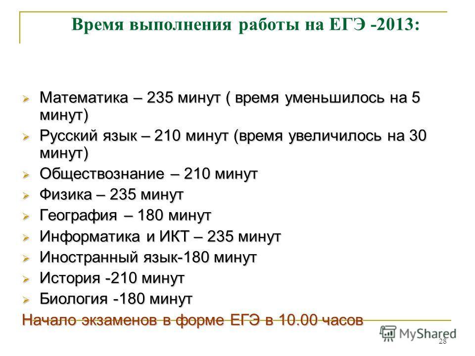28 Время выполнения работы на ЕГЭ -2013: Математика – 235 минут ( время уменьшилось на 5 минут) Математика – 235 минут ( время уменьшилось на 5 минут) Русский язык – 210 минут (время увеличилось на 30 минут) Русский язык – 210 минут (время увеличилос
