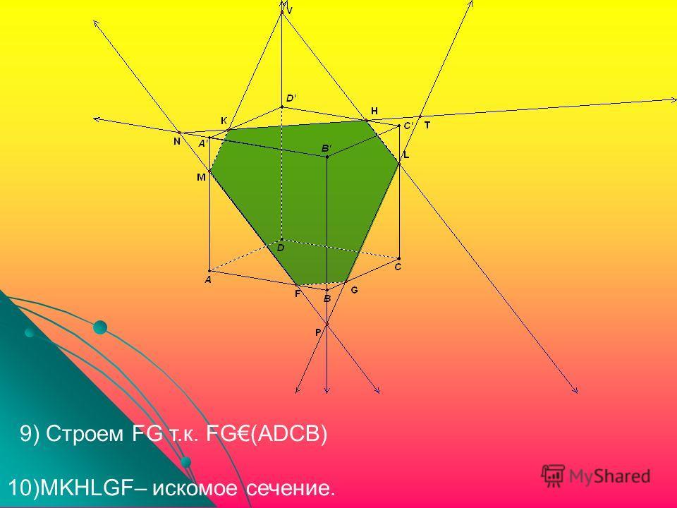 9) Строем FG т.к. FG(ADCB) 10)MKHLGF– искомое сечение.