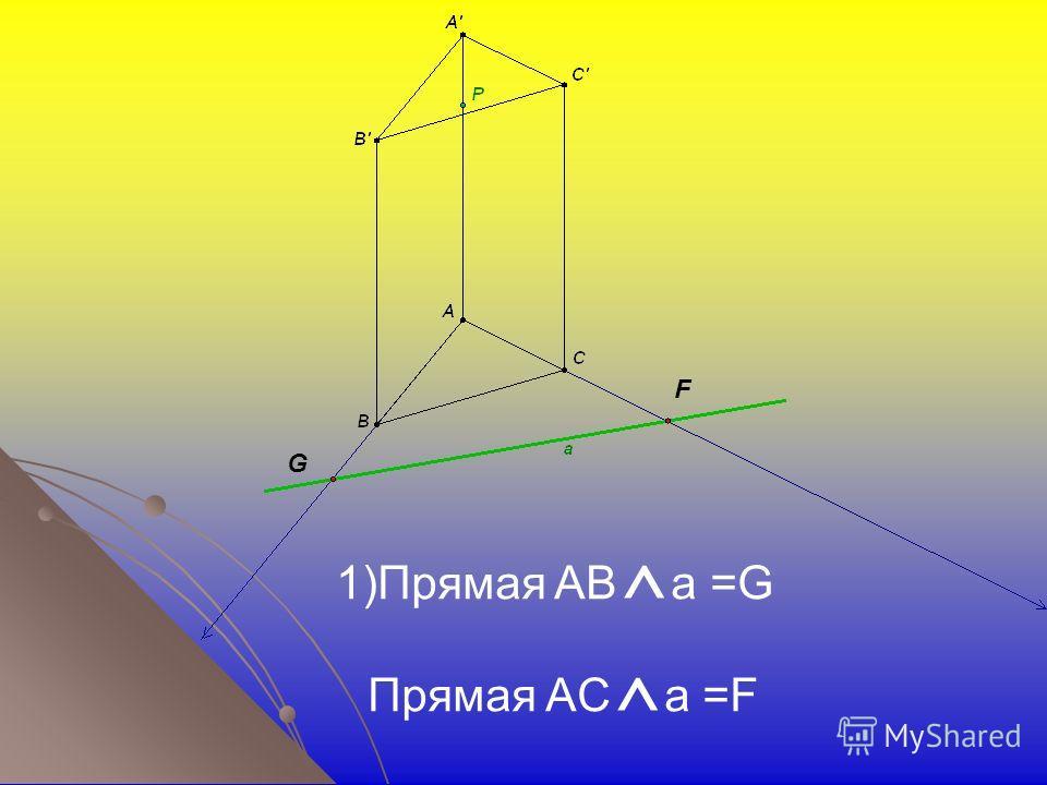 F G 1)Прямая AB ^ a =G Прямая AC ^ a =F