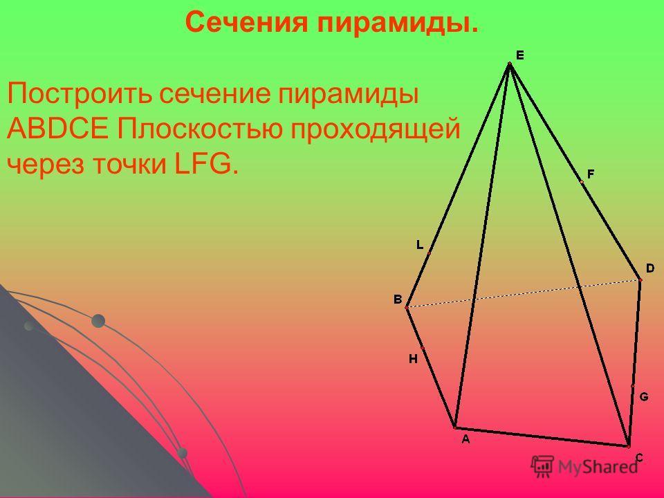 Построить сечение пирамиды ABDCE Плоскостью проходящей через точки LFG. Сечения пирамиды.
