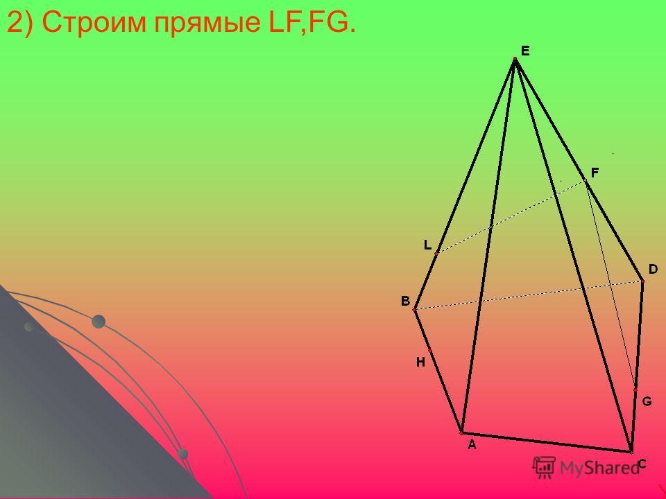 2) Строим прямые LF,FG.