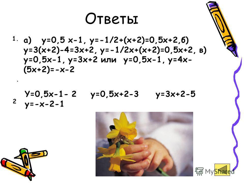 Ответы а) y=0,5 x-1, y=-1/2+(x+2)=0,5x+2,б) y=3(x+2)-4=3x+2, y=-1/2x+(x+2)=0,5x+2, в) y=0,5x-1, y=3x+2 или y=0,5x-1, y=4x- (5x+2)=-x-2 1.. Y=0,5x-1- 2 y=0,5x+2-3 y=3x+2-5 y=-x-2-1 2