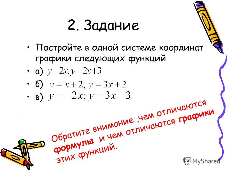 2. Задание Постройте в одной системе координат графики следующих функций а) б) в). Обратите внимание,чем отличаются формулы и чем отличаются графики этих функций.