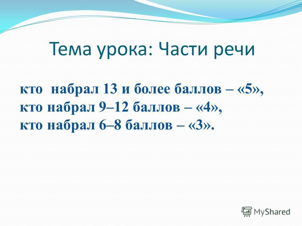 Тема урока: Части речи кто набрал 13 и более баллов – «5», кто набрал 9–12 баллов – «4», кто набрал 6–8 баллов – «3».