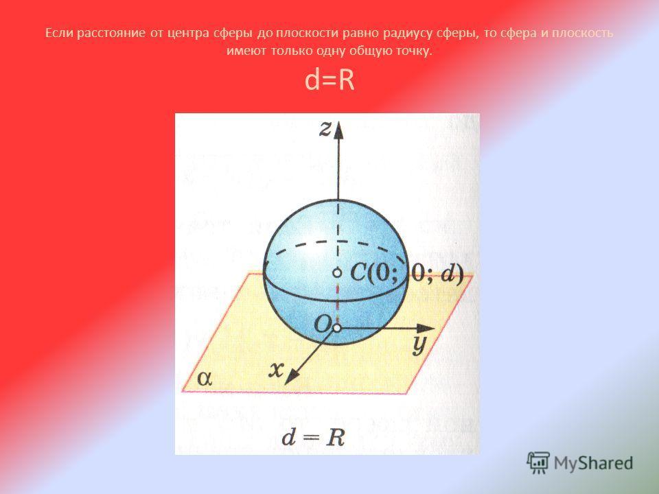 Если расстояние от центра сферы до плоскости равно радиусу сферы, то сфера и плоскость имеют только одну общую точку. d=R