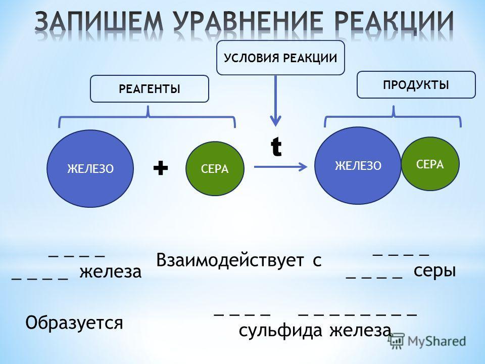 ЖЕЛЕЗО + СЕРА t РЕАГЕНТЫ ПРОДУКТЫ УСЛОВИЯ РЕАКЦИИ ЖЕЛЕЗО СЕРА Взаимодействует с _ _ _ _ _ _ железа _ _ _ _ _ _ серы Образуется _ _ _ _ _ _ сульфида железа